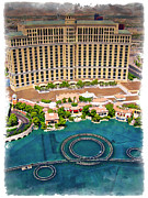 Watercolor Resort Posters - Bellagio - IMPRESSIONS Poster by Ricky Barnard