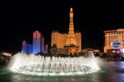 Night Time Framed Prints - Bellagio Fountains Night 1 Framed Print by Andy Smy
