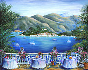 Cafe Terrace Painting Posters - Bellagio From The Cafe Poster by Marilyn Dunlap