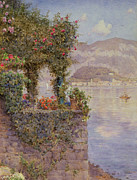 Ernest Framed Prints - Bellagio from Tremezzo Framed Print by Ernest Arthur Rowe