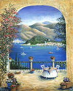 Italian Wine Painting Originals - Bellagio Lake Como From the Terrace by Marilyn Dunlap