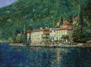 Lake Painting Framed Prints - Bellano on Lake Como Framed Print by Guido Borelli