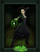 Green Digital Art Posters - Bellatrix Lestrange Poster by Christopher Ables