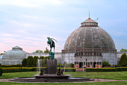 Riverfront Park Digital Art Prints - Belle Isle Anna Scripps Whitcomb Conservatory and Leaping Gazelle Statue By Marshall Fredericks Print by Gordon Dean II