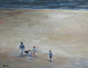 Dog Walking Painting Posters - Belles Beach Poster by Julie Dalton Gourgues