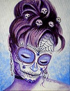 Painted Faces Framed Prints - Belleza Tejido  Framed Print by Al  Molina