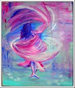 Shawl Painting Originals - Belly dancer by Regina Levai