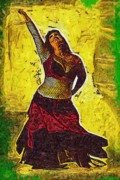 Belly Dancer Posters - Belly Dancing Poster by Deborah MacQuarrie