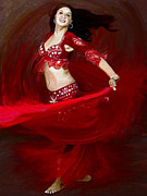 Belly Dance Paintings - belly Swirl by James Shepherd