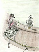 Bartender Paintings - Belly Up To The Bar by Dana Hammack