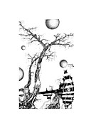 Tree Lines Drawings Prints - Bellytree Print by Jan Adrian Klein Ovink