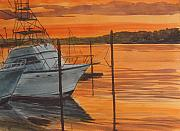 Yacht Painting Originals - Belmar Sunset by Pete Maier