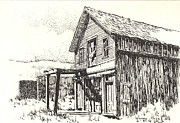 Towns Drawings - Belmont Ghost Town Nevada by Kevin Heaney