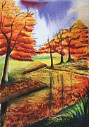 Riverscape - Early Autumn Framed Prints - Beloved Autumn Framed Print by Shakhenabat Kasana