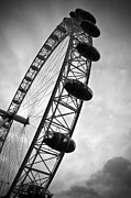 Grey Clouds Prints - Below Londons Eye BW Print by Kamil Swiatek