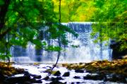 Fall Landscape Digital Art - Below the Waterfall by Bill Cannon