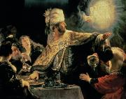 Rembrandt Paintings - Belshazzars Feast by Rembrandt