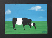 Family Farm Painting Prints - Belted Galloway Cow and Calf Print by Candace Shockley