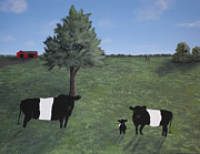 Outbuildings Painting Framed Prints - Belted Galloway Family Framed Print by Candace Shockley