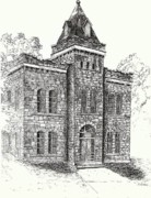 Outlaw Drawings - Belton Jail by Barney Hedrick