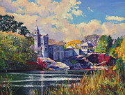 Landscapes Paintings - Belvedere Castle Central Park by David Lloyd Glover