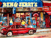 Montreal Street Life Painting Prints - Ben And Jerrys Ice Cream Parlor Print by Carole Spandau