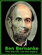 News Mixed Media - Ben Bernanke Abe Lincoln Meme by OptionsClick BlogArt
