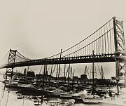 Ben Franklin Bridge Prints - Ben Franklin Bridge from the Marina in Black and White. Print by Bill Cannon