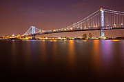 Illuminated Photo Posters - Ben Franklin Bridge Poster by Richard Williams Photography