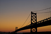 Franklin Posters - Ben Franklin Bridge Sunrise Poster by Bill Cannon