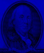 U S Founding Father Prints - BEN FRANKLIN in BLUE Print by Rob Hans