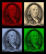 U S Founding Father Prints - BEN FRANKLIN in COLORS Print by Rob Hans