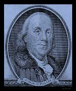 U S Founding Father Prints - BEN FRANKLIN in CYAN Print by Rob Hans