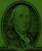 U S Founding Father Prints - BEN FRANKLIN in DARK GREEN Print by Rob Hans