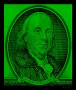 U S Founding Father Prints - BEN FRANKLIN in GREEN Print by Rob Hans