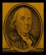 U S Founding Father Prints - BEN FRANKLIN in ORANGE Print by Rob Hans