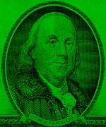 U S Founding Father Prints - BEN FRANKLIN inGREEN Print by Rob Hans