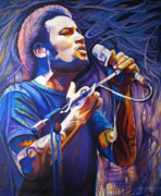 Singer Paintings - Ben Harper and Mic by Joshua Morton