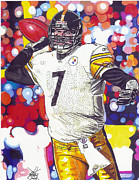 Steelers Drawings - Ben Roeslisberger by Neal Portnoy