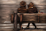 Dress Up Posters - Bench - A couple out of time Poster by Mike Savad
