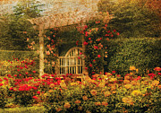 Yellows Prints - Bench - The Rose Garden Print by Mike Savad