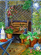 Red Geraniums Prints - Bench And Blue Table Print by Cheryl Carrabba