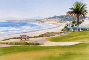 Beach Painting Posters - Bench at Powerhouse Beach Del Mar Poster by Mary Helmreich