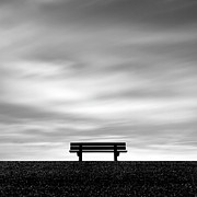 Black And White Photography Metal Prints - Bench, Long Exposure Metal Print by Kees Smans