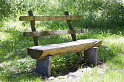 Hand Made Prints - Bench made of wood Print by Mats Silvan