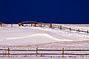 Snow Drifts Prints - Bench On A Winter Hill Print by Don Nieman