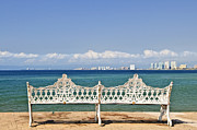 Sunshine Framed Prints - Bench on Malecon in Puerto Vallarta Framed Print by Elena Elisseeva