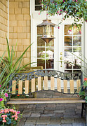 French Door Prints - Bench on Patio Print by Andersen Ross