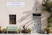 Italian Restaurant Posters - Bench Outside Osteria Le Panzanelle Restaurant and Inn Poster by Jeremy Woodhouse