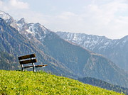 Mountains Posters - Bench Poster by Rolfo Eclaire